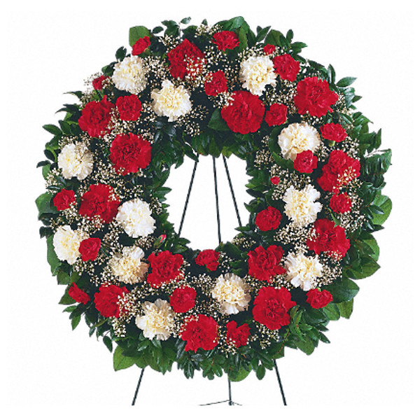 Red and White Wreath buy at Florist