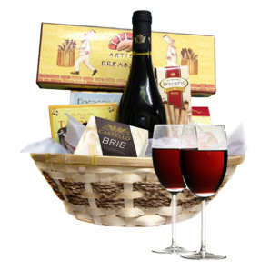 Red Wine & Cheese Basket buy at Florist
