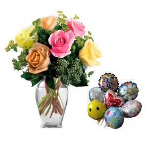 Mixed Summer Roses & Balloon Gift Set